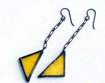 Stained Glass Earrings- Hanging Triangles- yellow earrings- Lemon Yellow