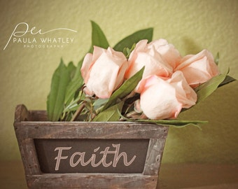 pink rose photo, Faith word print, rose wall art, pink rose wall art, pink rose print, inspiration art, inspirational photo, faith print