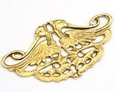 Vintage Egyptian theme pendant, two birds multihole component, goldtone, 48mm