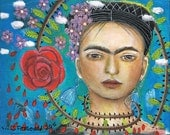 Special Price Free Shipping Print Mixed Media Folk Art Fridas Flowers