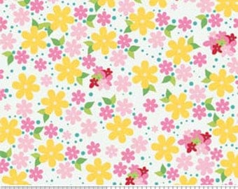 Hoo's in the Forest by Riley Blake Floral in White C2563-white - whimsical pink yellow white flower cotton fabric Fat Quarter FQ or custom