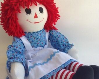 "Raggedy Ann Handmade Doll 20"" Light Blue Dress Custom Order Available Priority Shipping"