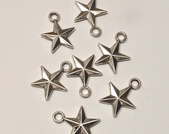 Silver star charms - qty 7