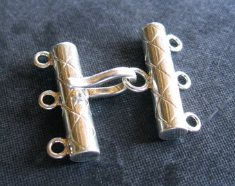 Hatched Solid Sterling Silver high end hook and eye clasp - multiple strands - three stranded