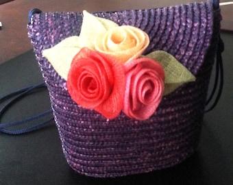 Vintage Blue Straw Handbag Decorated with Three Straw Roses