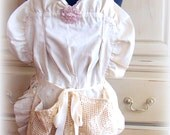 Full Apron, Liv, Off white and pale pink, flower, crocheted pockets,ruffles