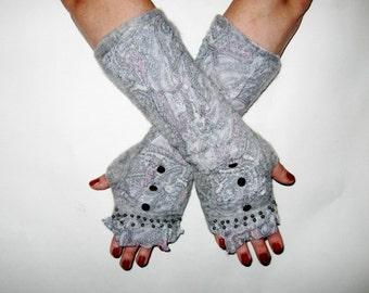 Gray Felt Mittens wool silk hand felted gloves fingerless wrist warmers