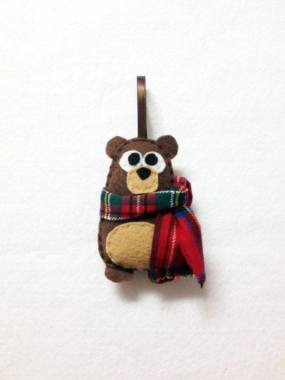 Bear Ornament, Christmas Ornament, Nester the Bear, Felt Ornament, Forest Animal, Woodland Decoration
