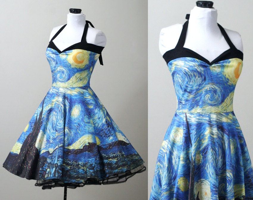 Starry night van gogh swing dress custom smarmyclothes art for Doctor who themed wedding dresses