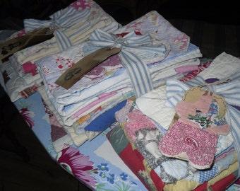 old quilt pieces destash lot 1 yd total vintage cutter quilt for craft supplies