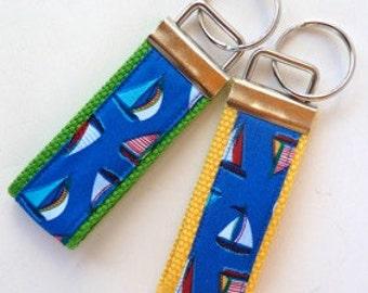 Wristlet Key Fob - Mini Key Fob - Small Key Chain - Sailboat - Sailing - Sailor Gifts - Key Holder - Webbing