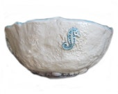 Ceramic Bowl with Sea Horse and Shells baby blue and natural white Hand Crafted Original