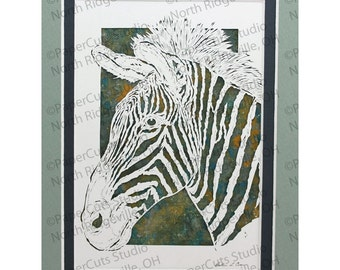 Zebra Papercutting, Handcut Original, Watercolor Background