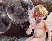 Cupid Blowing Soap Bubbles Kissing Couples Rare Antique Postcard Digital Printable for Personal Use