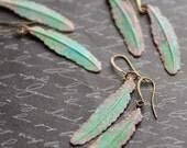 Feather Earrings. Tribal Earrings, Rustic Boho Earrings, Green Patina Earrings, Verdigris Jewelry, Green Earrings, Bohemian Style, SRAJD