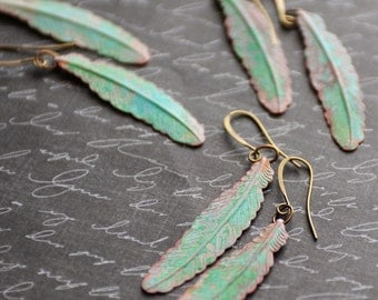 Feather Earrings. Tribal Earrings, Rustic Boho Earrings, Green Patina Earrings, Verdigris Jewelry, Green Earrings, Bohemian Style, SRAJD