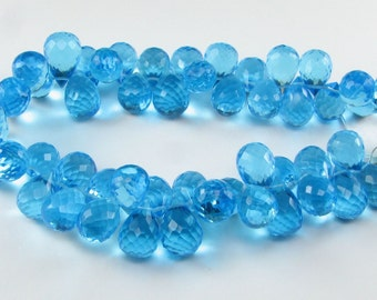 Swiss Blue Quartz Faceted 3D Teardrop Tear Drop Pineapple Shaped Briolettes 11mm - 12mm (4 beads)