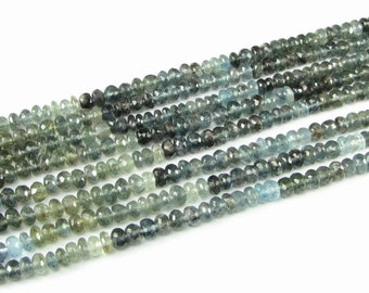 Moss Aquamarine Beads Shaded Blues and Greens Faceted Rondelle Beads, Gemstone Beads, 4.5mm, Spacer Beads (7 inch strand of gems)