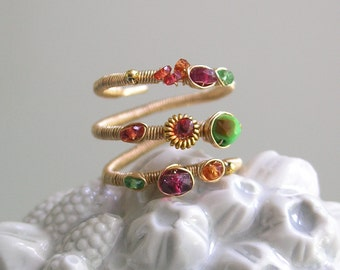 14k Gold Filled Multi Gemstone Wraparound Ring with Sapphires, Turquoise, Spinel