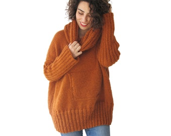 NEW! Rusty Hand Knitted Sweater with Accordion Hood and Pocket Plus Size Over Size Tunic - Dress Sweater by Afra