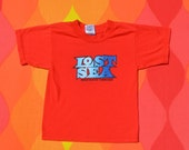 vintage kid's tee shirt 80s LOST SEA tennessee sweetwater caverns red t-shirt children's youth 6 8