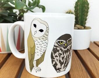 British owls illustrated mug