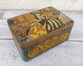 Vintage 1930  tin box / Regionalist Bretagne Ouest of France biscuit box