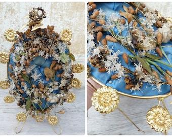 Victorian bridal wreath headpiece on a blue sateen padded cushion /Ormoulu stand
