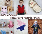 Discount Pattern Package 5 patterns  for 20 dollars, many available.. baby patterns, hats, ladies accessories PATTERN in PDF