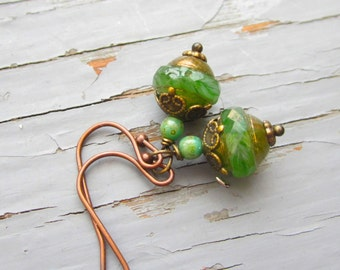 Specialty glass earrings, pretty apple green or long teal with flower design