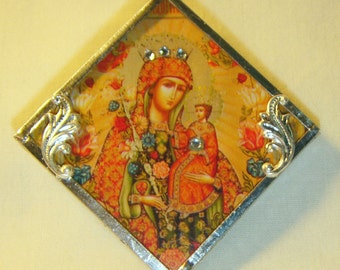 Bejeweled Virgin Mary & Child Pin / Pendant Icon inv1162