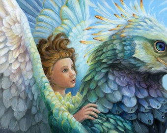 Sky - Girl on Bird Print - Fantasy Art