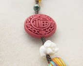 Original jewelry - Red Cinnabar Lucky and Bead Charm Accessory with Corlorful Oriental Tassel
