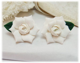 White Gardenia Leaf Earrings Stud or Clip On - Gardenia Jewelry Collection