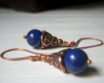 Lapis Lazuli Earrings, Copper Dangle Earrings, Round Blue Genuine Gemstone Dangle, Indigo Blue Earrings