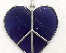 Stained Glass Ornament - Peace and Love Heart Purple