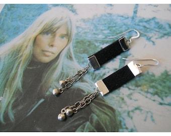 Boho Earrings, Black Suede Earrings, Ribbon Leather Earrings, E132