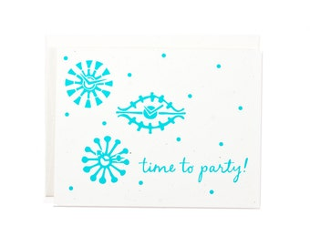 Retro Card / Retro Wall Clock / Greeting Cards / Paper Handmade Greeting Cards / Time to Party / Celebration Card / Clock Card / ScreenPrint