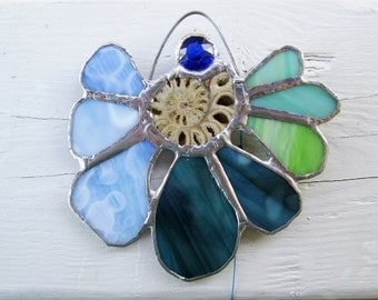 Gorgeous Stained Glass Suncatcher Sunflower with Genuine Ammonite Fossil - Wistful - Blue Green Amber