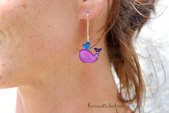 Purple whales dangle earrings, animal jewelry, wearable art, cute whale
