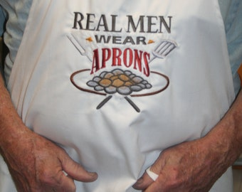"""Apron NEW Father's Day BBQ Apron Embroidered """"Real Men Wear Aprons"""" by SEWBUSY12"""