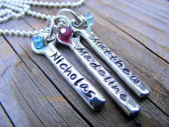 Mothers Personalized Engraved Sterling Silver Bar Necklace, Children's Name, Memory Word, Inspirational Jewelry, Birthstone Gemstone Beads