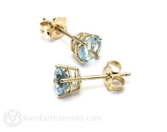 14K Aquamarine Earrings Studs 5mm Gemstone Stud Earrings 14K Gold Studs  White or Yellow Gold March Birthstone Earrings