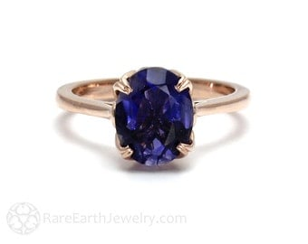 Iolite Ring Flower Solitaire Purple Blue Gemstone Ring 14K or 18K White Yellow Rose Gold