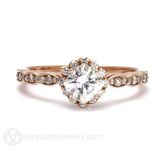 14K Rose Gold Moissanite Ring Diamond Halo Engagement Ring Cushion Cut 18K Platinum Palladium Conflict Free Moissanite Ring