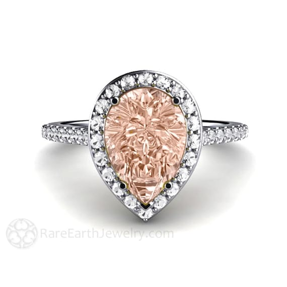 Morganite Engagement Ring Diamond Halo Pear Morganite Ring Custom Bridal Jewelry
