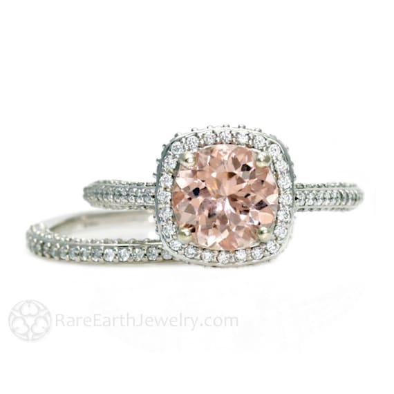 Platinum Morganite Bridal Set Diamond Halo Morganite Engagement Ring Conflict Free Wedding Ring