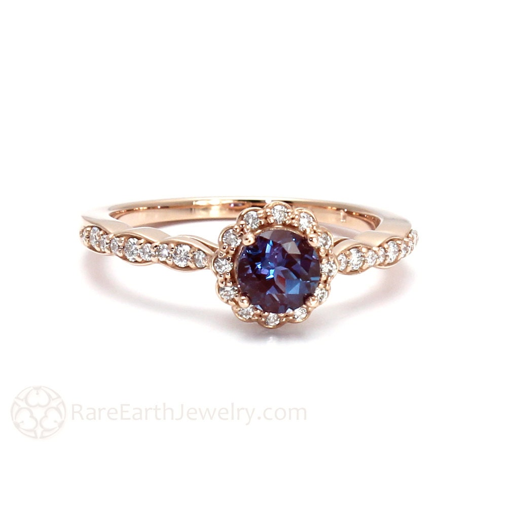 alexandrite ring white sapphire halo engagement ring by