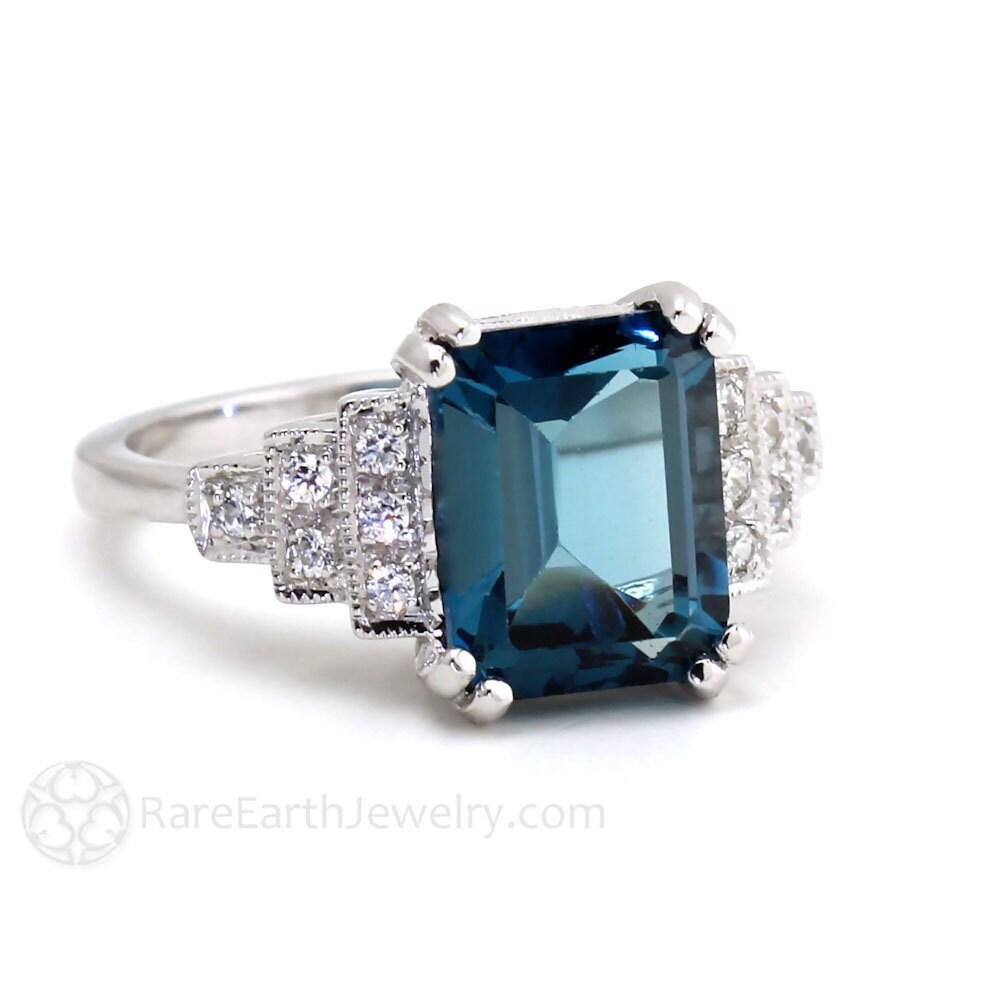 Vintage Ring Art Deco Ring London Blue Topaz Ring Diamond