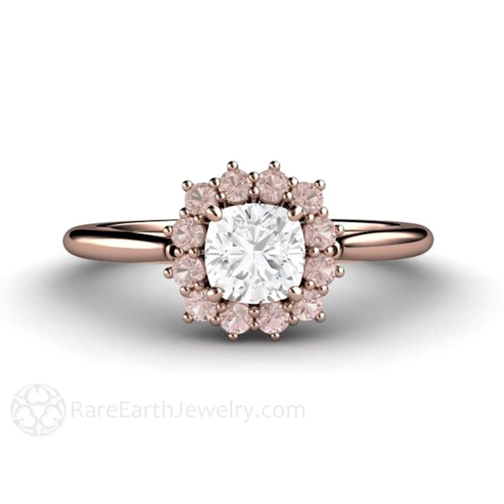 Pink Diamond Engagement Ring Pink Diamond Ring Cushion Halo